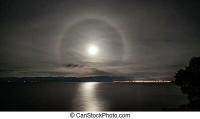 Time lapse of a halo around the moon on a full moon night...