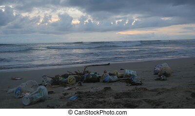 Time-lapse of a lot of trash and plastic wastes on ocean...