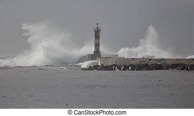 Time lapse of a storm at Douro river mouth, Porto Portugal -...