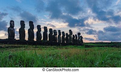 Time-lapse of Ahu tongariki silhouette at sunrise - Ahu...
