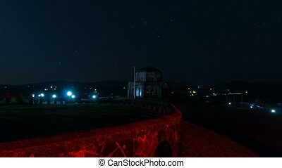 Time lapse of auto traffic light trails at Vista House Crown...
