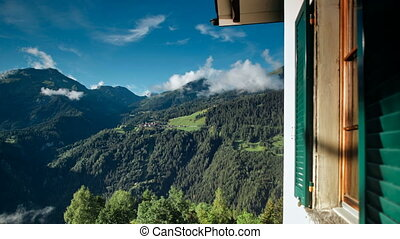 time-lapse of beautiful morning in the Swiss Alps near Castiel