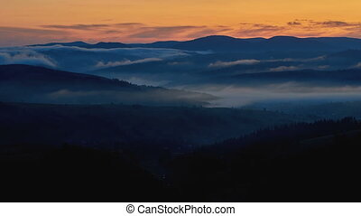 time-lapse video in the Carpathian Mountains. Sunrise accompanied by morning fog