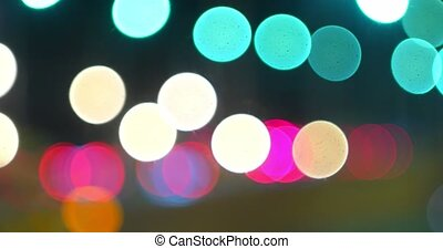 Time lapse of blurred traffic lights