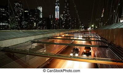 Time Lapse of Brooklyn Bridge Night