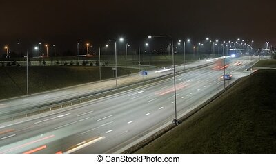 Time Lapse of Busy Freeway Traffic at Night.