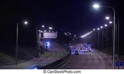 Time Lapse of Busy Freeway Traffic at Night in Vilnius, Lithuania.