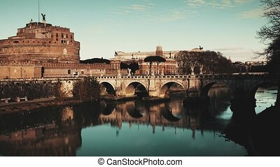 Time lapse of Castel Sant'Angelo castle and crowded Ponte...