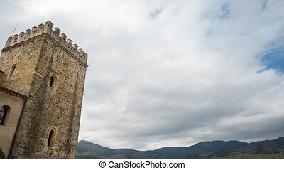 Time Lapse of castel tower and clouds, 4k - Castel tower and...