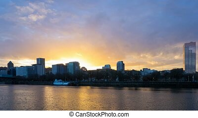 Time lapse of clouds along Willamette River in Portland OR at sunset 4k