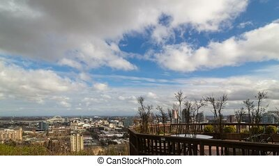 Time lapse of clouds and blue sky over downtown Portland...