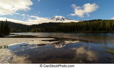 Time lapse of clouds and sky over Mt Rainier with reflection in Washington State