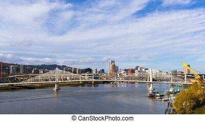 Time lapse of clouds over city auto traffic on Marquam bridge in Portland OR