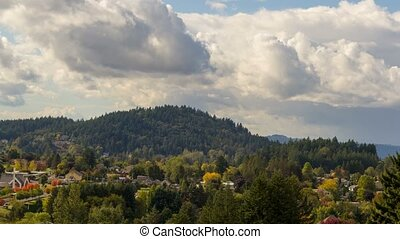 Time lapse of clouds over homes in Happy Valley OR and Mt. Talber fall season 4k