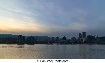 Time lapse of clouds over Portland OR city skyline from...