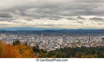 Time lapse of clouds over Portland OR cityscape in colorful fall season 4k uhd