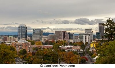 Time lapse of clouds over Portland OR urban downtown scene in fall season 4k uhd