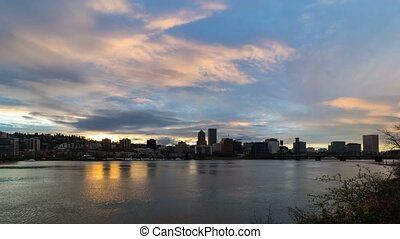Time lapse of clouds over Portland OR city along at colorful...