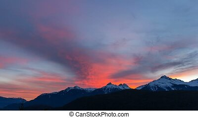 Time lapse of clouds over Tantalus Range in BC Canada at...