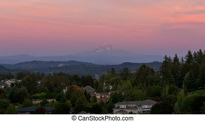 Time lapse of colorful sunset over Mt. Hood and residential homes in Happy Valley OR 4k uhd