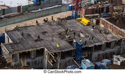 Time-lapse of construction site at. Advanced building technologs, developing industrial country concept