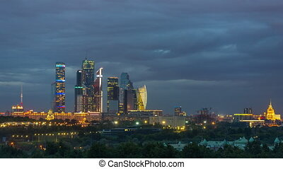 Time lapse of day to night transition over Moscow city