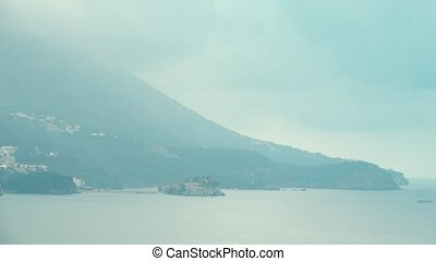 Time lapse of famous island village Sveti Stefan in...