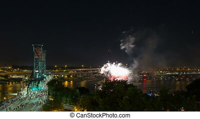 Time Lapse of Fireworks Portland OR - Ultra High Definition...