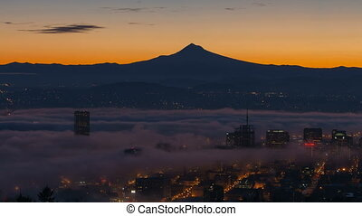 Time Lapse Movie of Thick Dense Rolling Fog and Low Clouds over Downtown City of Portland Oregon with Snow Covered Mount Hood One Early Morning at Sunrise 1920x1080