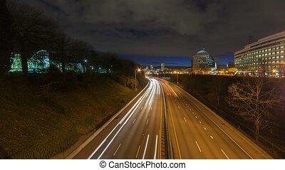 Time lapse of freeway traffic 4k