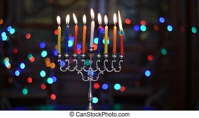 Time Lapse of Hanukkah Candles Burning. Hanukkah Menorah...