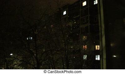 Time lapse of High-density apartment block at night, Kursk