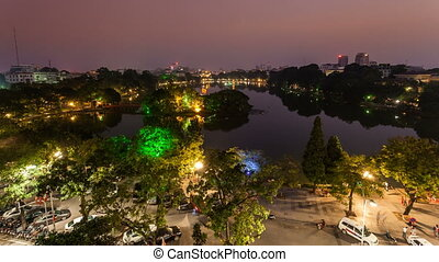 Time Lapse of  Hoan Kiem lake - Hanoi, Vietnam