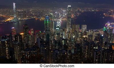 Time-Lapse of Hong Kong at Night. pan up