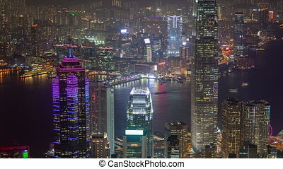 Time-Lapse of Hong Kong cityview. pan up