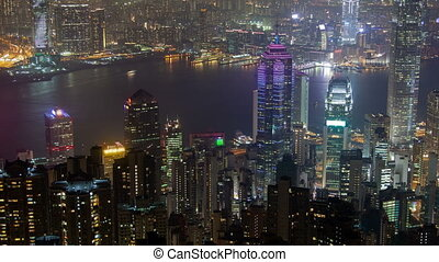 Time-Lapse of Hong Kong. pan up