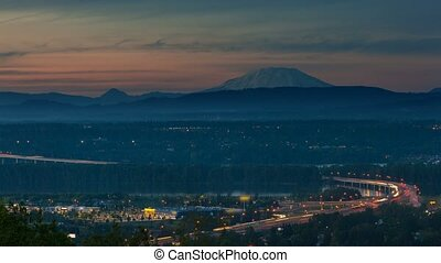 Time lapse of i205 over Columbia River from sunset into...