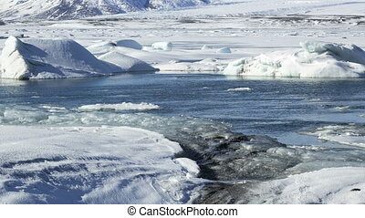Time lapse of ice blocks at glacier lagoon Jokulsarlon,...