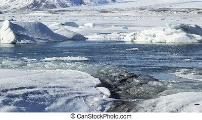 Time lapse of ice blocks at glacier lagoon Jokulsarlon,...