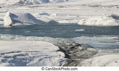 Time lapse of ice blocks at glacier lagoon Jokulsarlon, Iceland, 4K