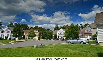 Time lapse of idyllic suburbs