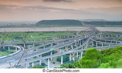 Time lapse of interchange, Taiwan - Time lapse of...