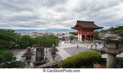 Time Lapse of Kiyomizu Dera and tourists in Kyoto, Japan -...