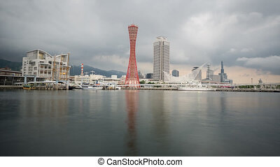 Time Lapse of kobe skyline at port, Japan - Kobe port...