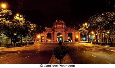 Time lapse of La Puerta De Alcala arch, Madrid, Spain. Night traffic