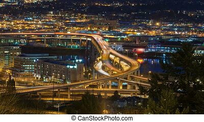 Time Lapse of Light Trails at Night - Time Lapse Movie of...