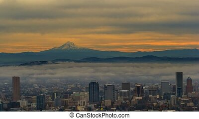 Time lapse of low clouds and fog over Portland OR and mt. hood at sunrise 4k uhd
