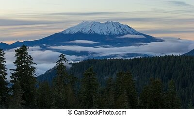 Time lapse of low fog and clouds over Mount st. helens 4k uhd