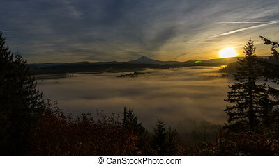 Time Lapse of Low Fog with Mt. Hood - Time Lapse Movie of...