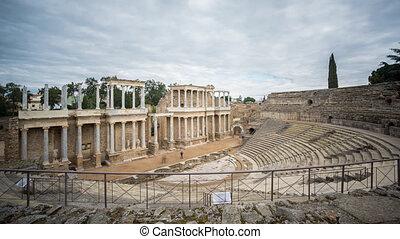 Time Lapse of Merida Roman Theatre, cloudy sky - Roman...